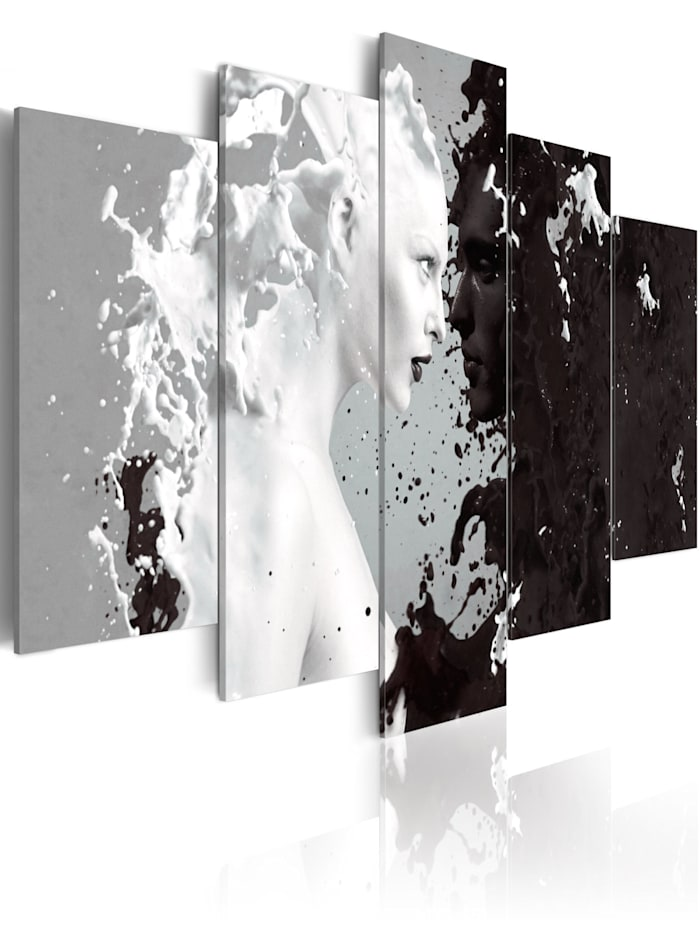 artgeist Wandbild Milk & Choco - 5 pieces, Grau,schwarz-weiß