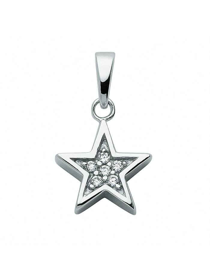 1001 Diamonds Damen Silberschmuck 925 Silber Anhänger mit Zirkonia Ø 10,2 mm, silber