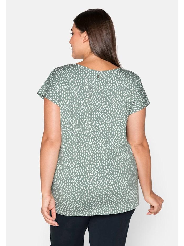 Shirt mit Alloverdruck und gelegten Falten