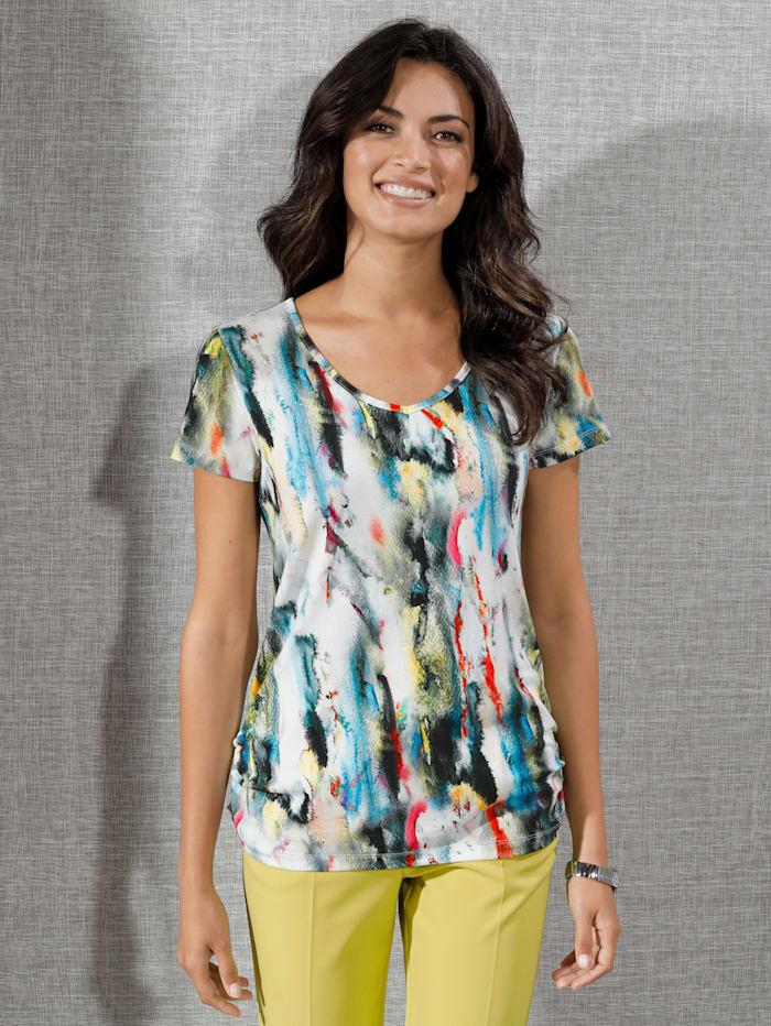 AMY VERMONT Shirt mit Farbverlauf allover, Off-white/Limettengrün/Pink