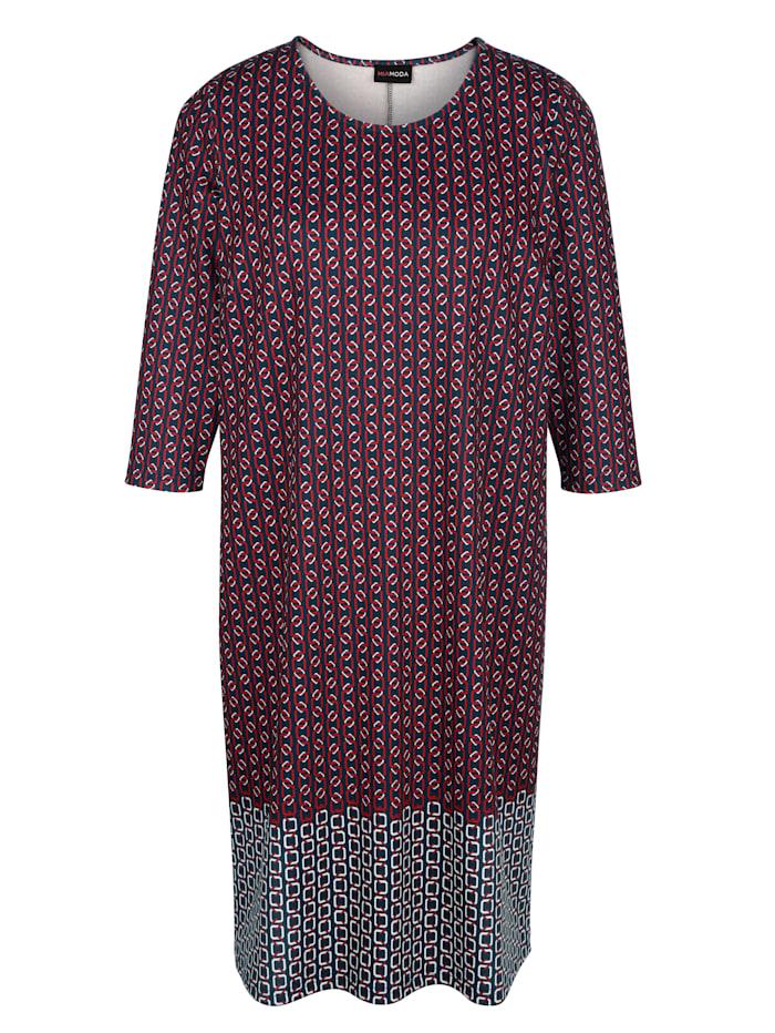 MIAMODA Kleid mit edlem Kettendruck, Rot/Marineblau/Weiß