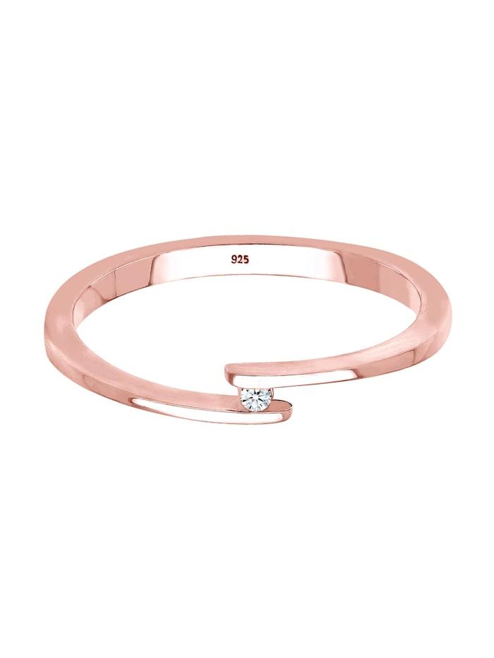 Ring Verlobungsring Solitär Diamant 0.015 Ct.925 Silber