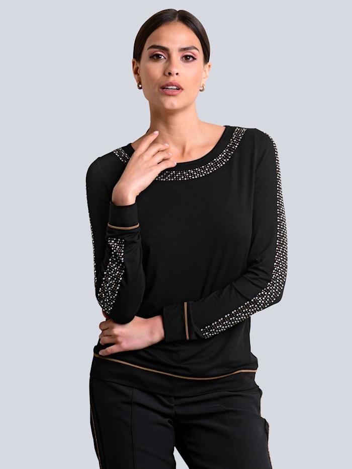 Alba Moda Shirt mit kontrastfarbiger Strasssteinchenverzierung, Schwarz/Cognac
