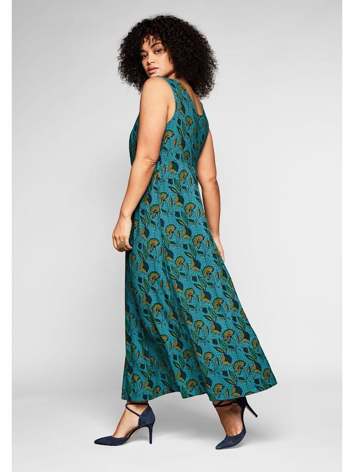 Jerseykleid mit Alloverdruck und tiefem V-Ausschnitt