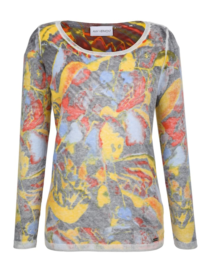AMY VERMONT Pullover im Allover-Print, Grau/Multicolor