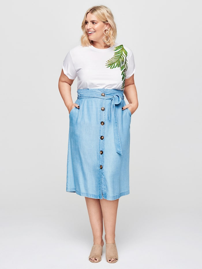 Rock Your Curves by Angelina K Shirt met bloemenmotief, Wit/Groen