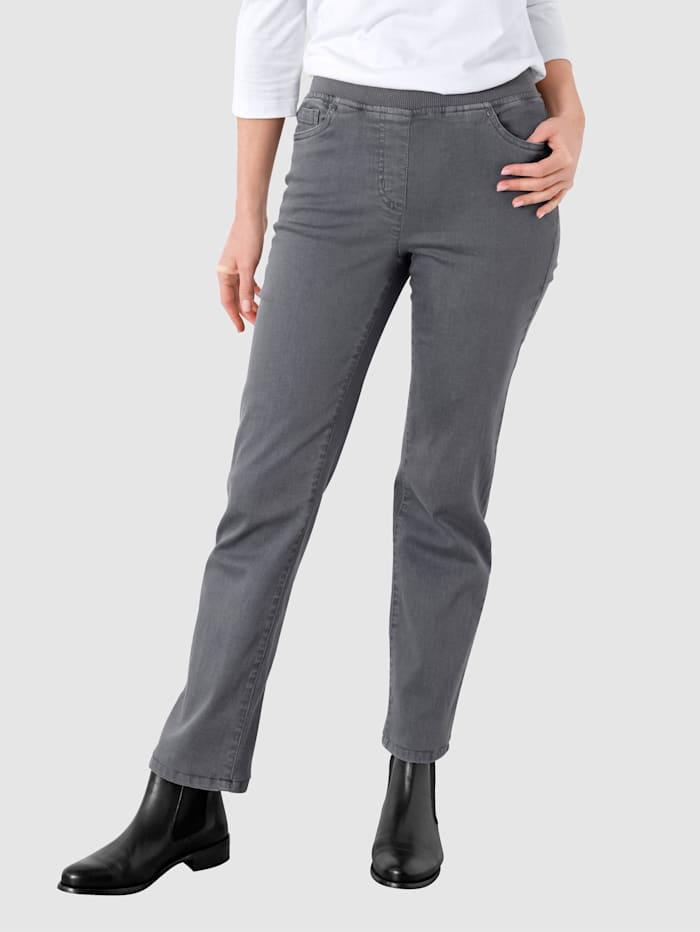 Paola Jeans med elastisk linning, Grå