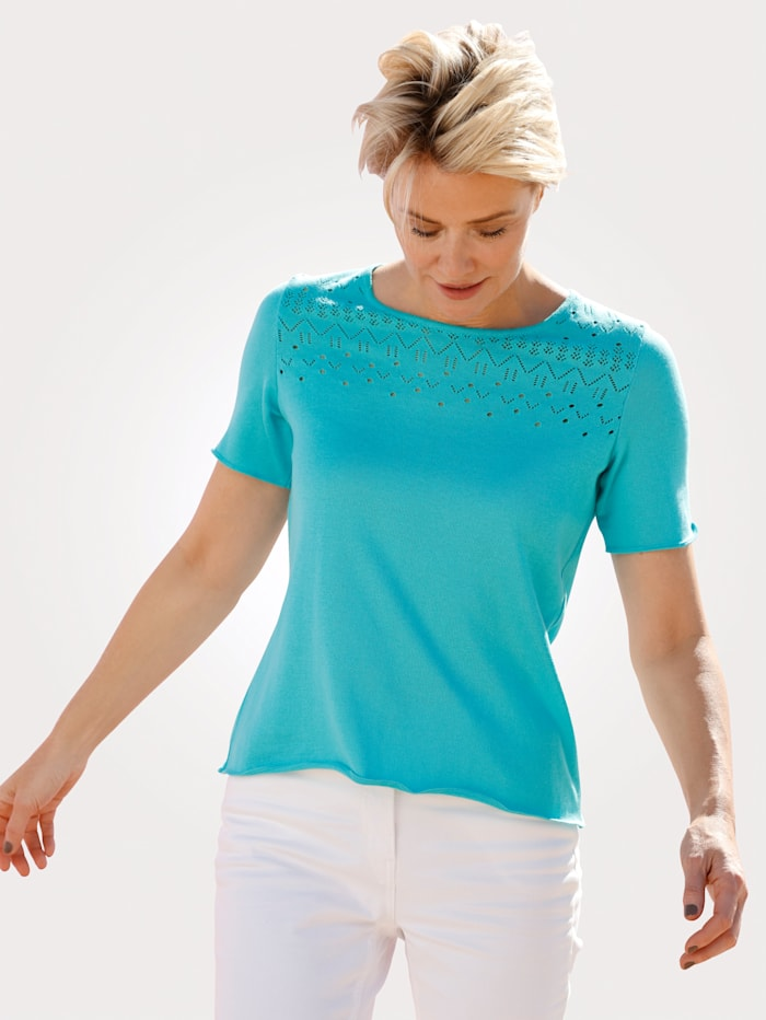 MONA Pullover mit Ajour-Details, Türkis