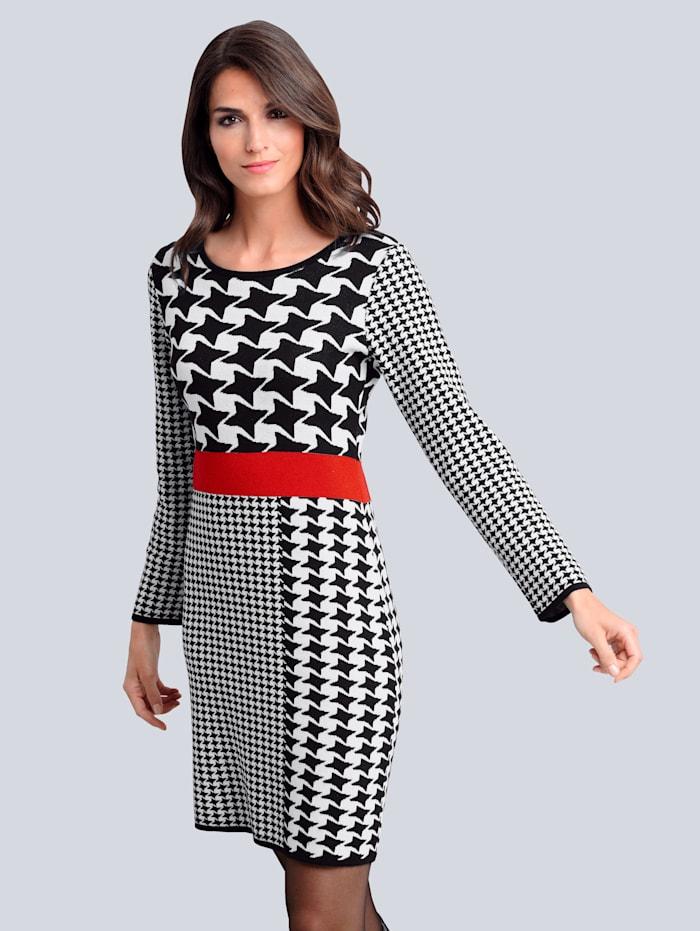 Alba Moda Kleid im exklusiven Dessin von Alba Moda, Schwarz/Weiß/Rot