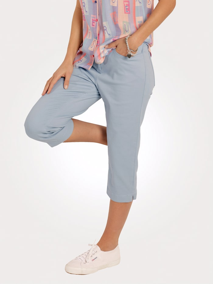 MONA Capri trousers with embroidery, Light Blue