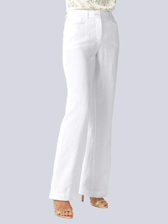 Alba Moda Hose aus reinem Leinen, Weiß
