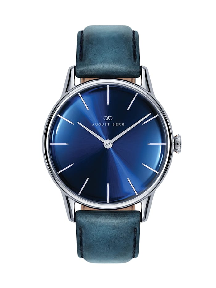August Berg Uhr Serenity Deep Blue Silver Blue Leather 32mm, sunray blue