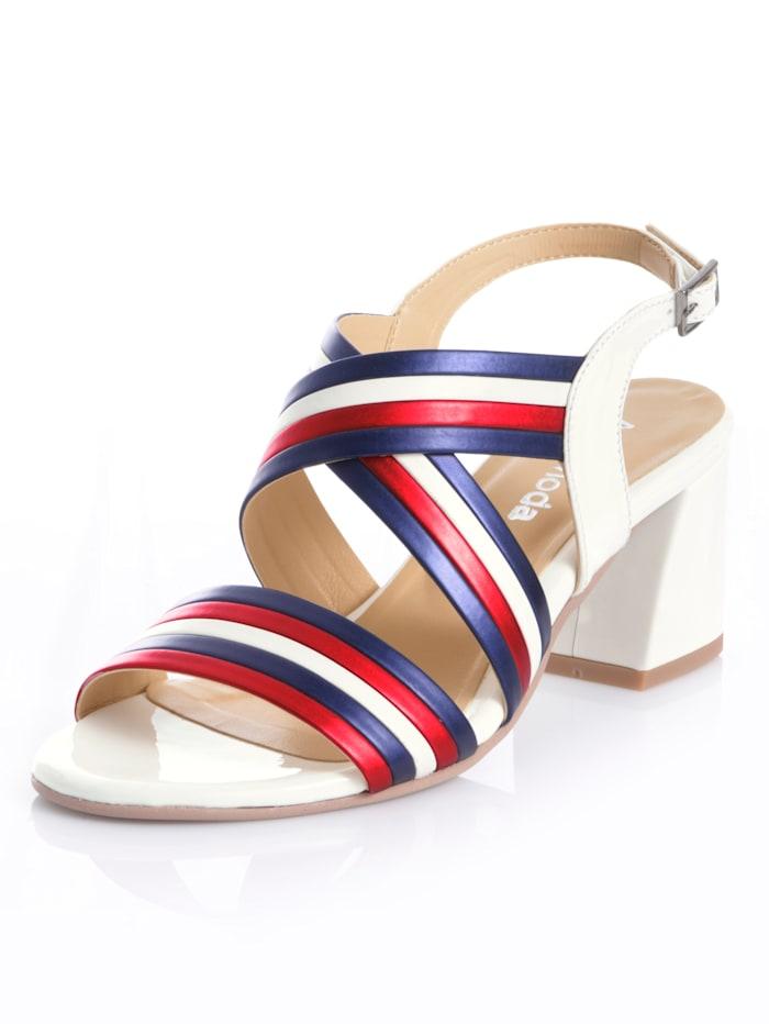 Alba Moda Sandalette aus Kunstleder, Weiß/Marineblau/Rot