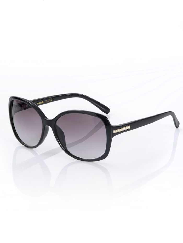 Alba Moda Sonnenbrille mit Strasssteinchen verziert, Schwarz