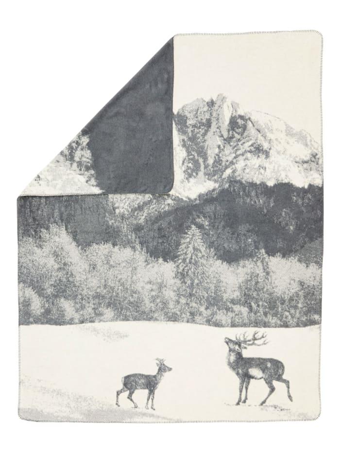David Fussenegger Plaid, Wollweiß/Grau