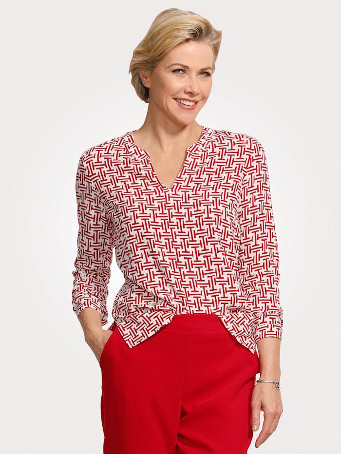 MONA Schlupfbluse in modischer Zweifarbigkeit, Rot/Weiß