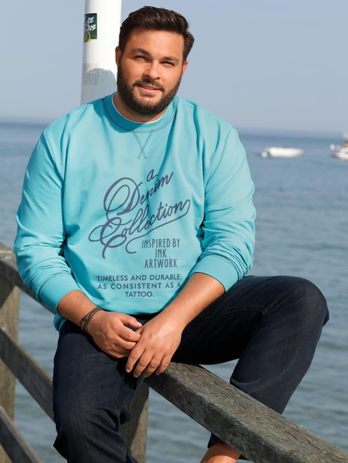 Men Plus Sweatshirt van zuiver katoen, Turquoise
