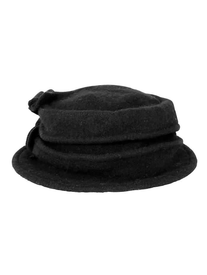 MONA Chapeau en pure laine, Noir