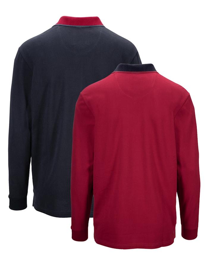 Poloshirts, 2er Pack mit kontrastfarbenem Kragen