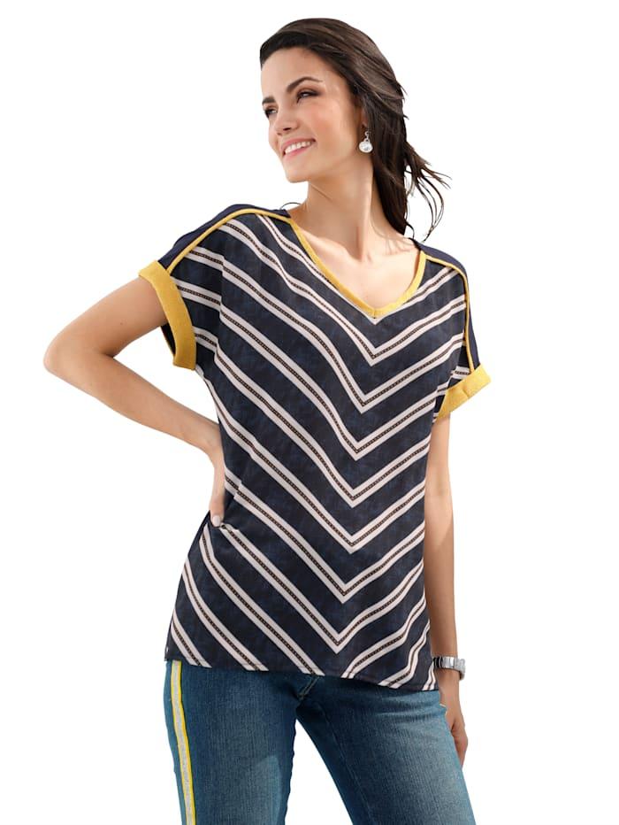 AMY VERMONT T-shirt avec fil métallisé, Marine/Jaune