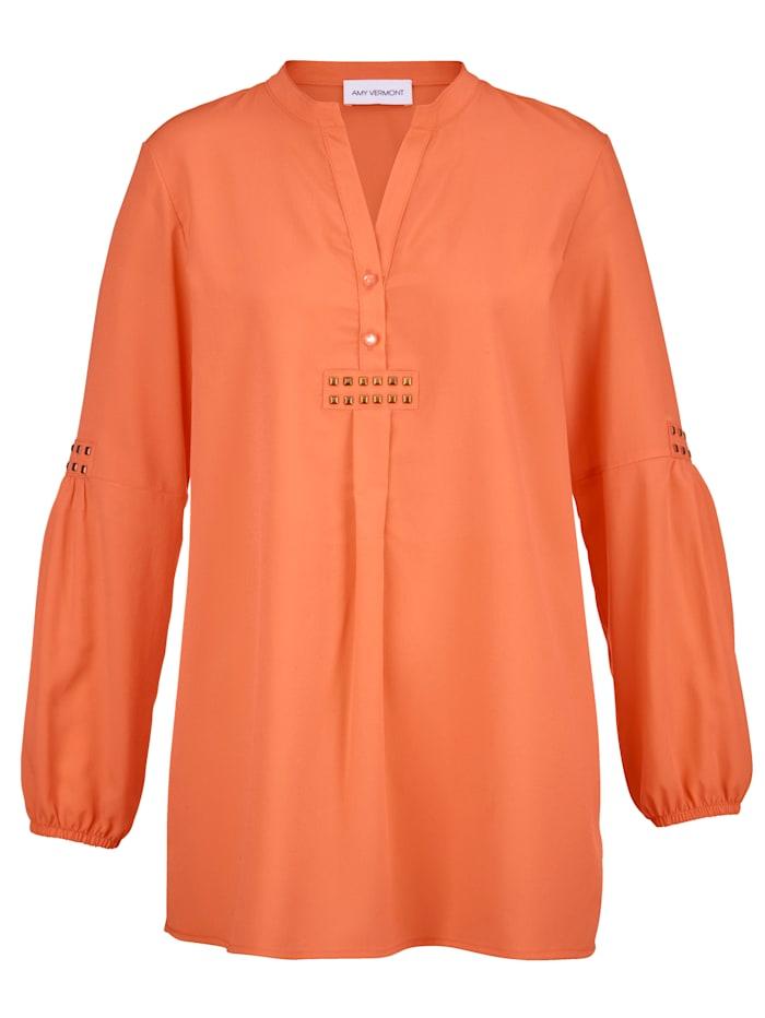 AMY VERMONT Bluse mit Metallplättchen im Vorderteil und am Ärmel, Orange
