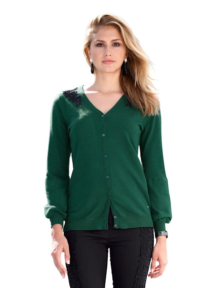 AMY VERMONT Vest met kant en strassteentjes, Smaragdgroen