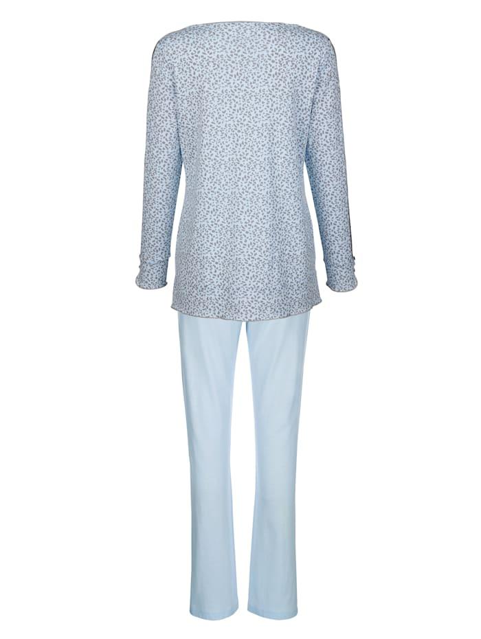 Pyjama met inzet van romantisch kant aan de mouwen