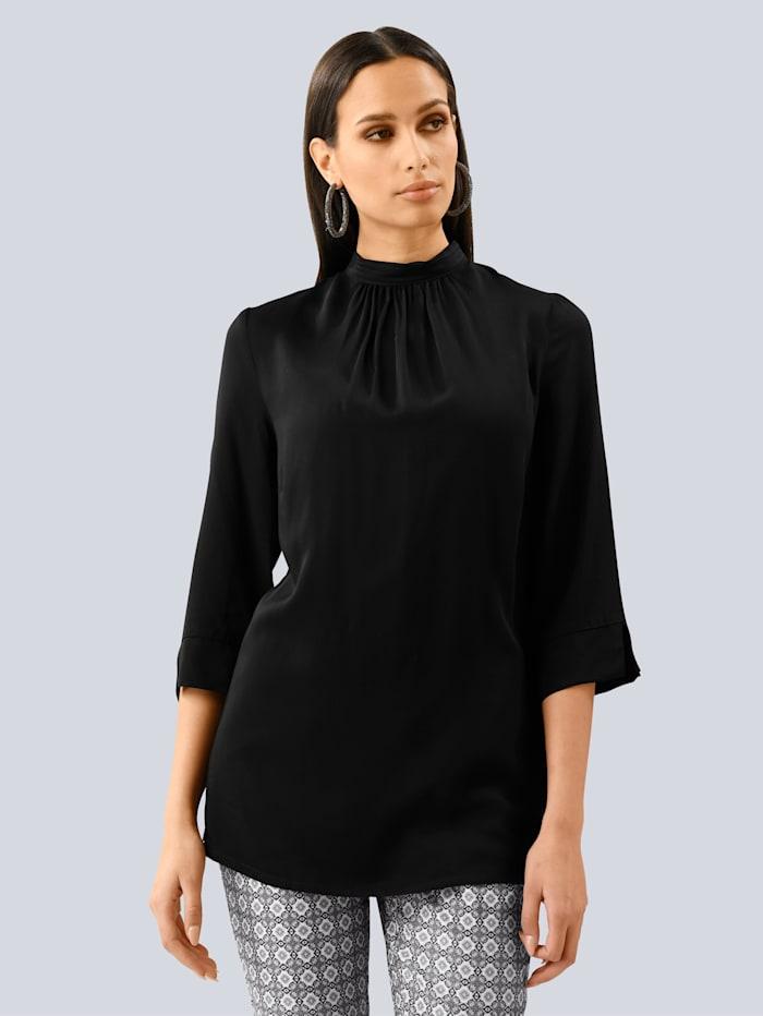 Alba Moda Bluse aus reiner Viskose, Schwarz