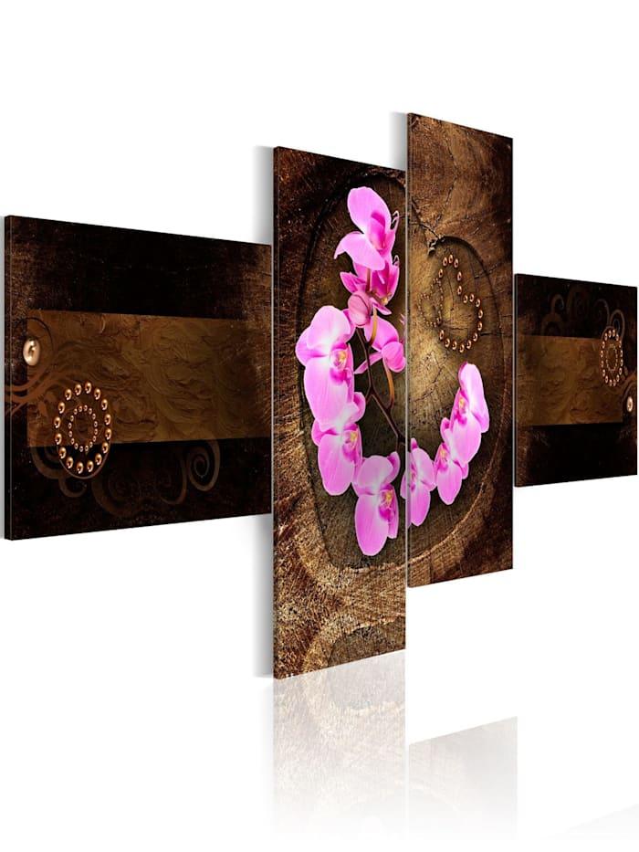 artgeist Wandbild Orchidee und Holz, Braun,rosa