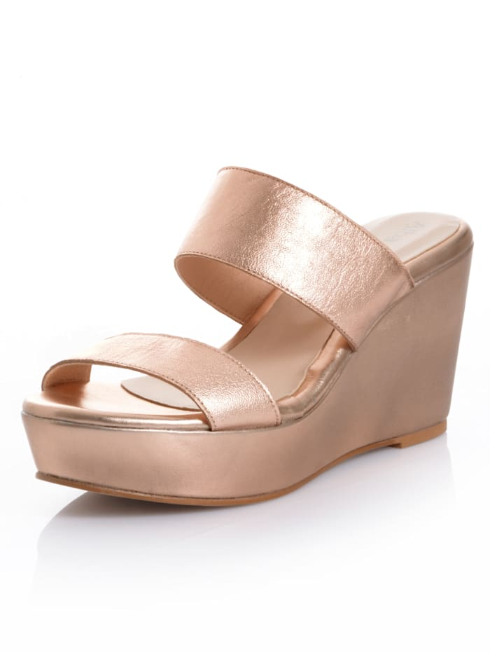 Alba Moda Pantolette im metallischem Look, Rosé