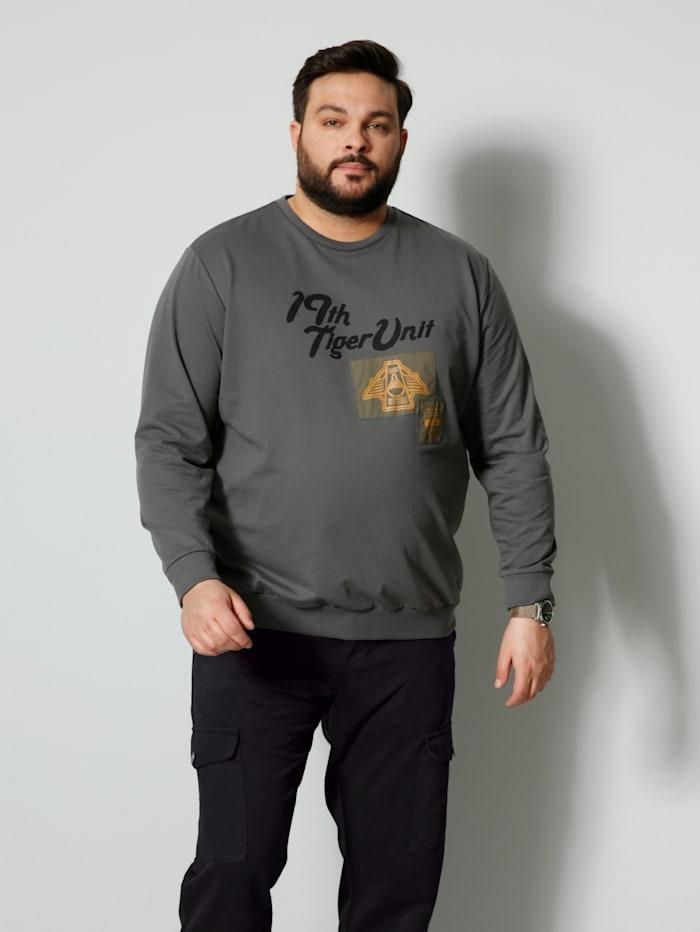 Men Plus Sweatshirt mit platziertem Druck, Dunkelgrau