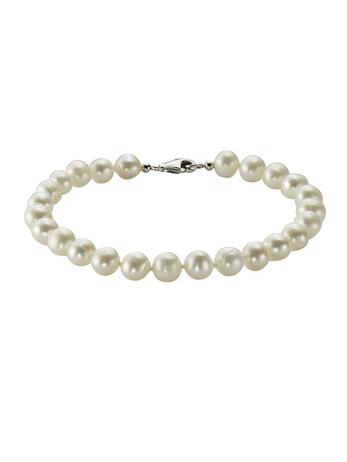Armband 925/- Sterling Silber Perle weiß 19cm Glänzend