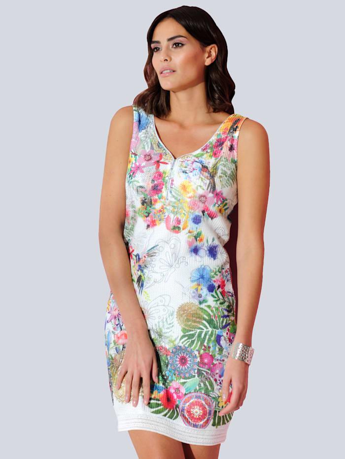 Alba Moda Jerseyklänning med tryckt blommönster runtom, Vit/Röd/Grön/Blå