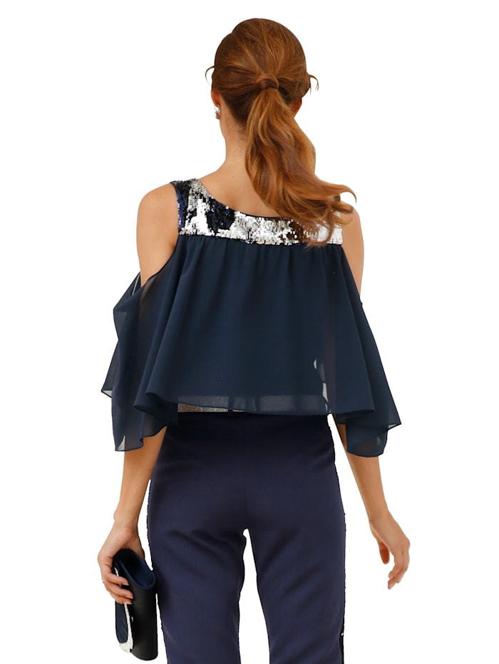 Bluse mit Wendepailletten und Chiffoneinsatz