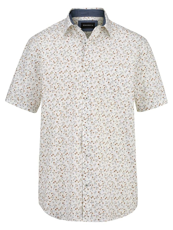 BABISTA Hemd mit floralem Druckmuster, Weiß/Beige