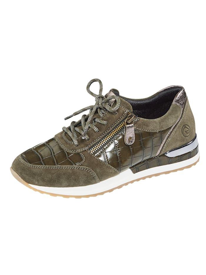 Remonte Sneaker van een harmonieuze materialenmix, Kaki/Zilvergrijs