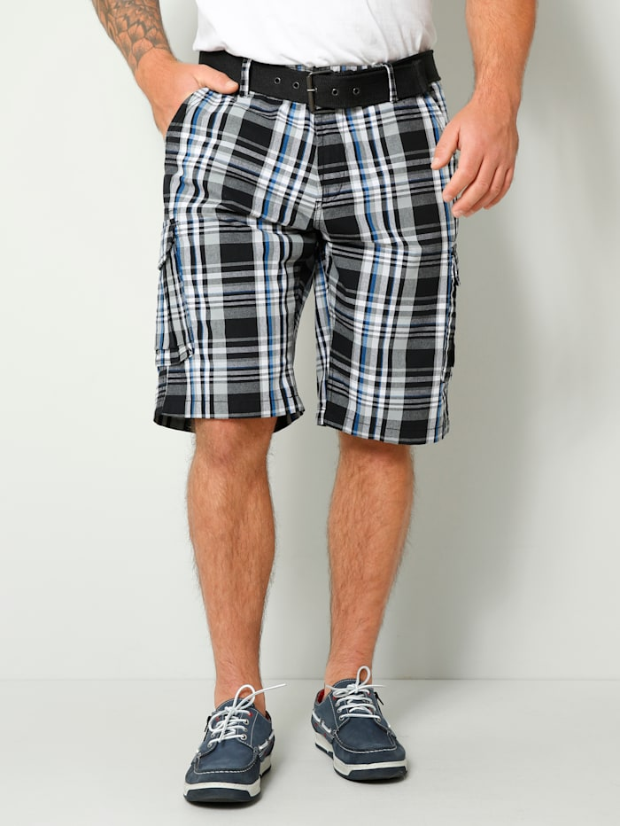Men Plus Cargo-Bermuda Regular Fit, Schwarz/Weiß/Blau