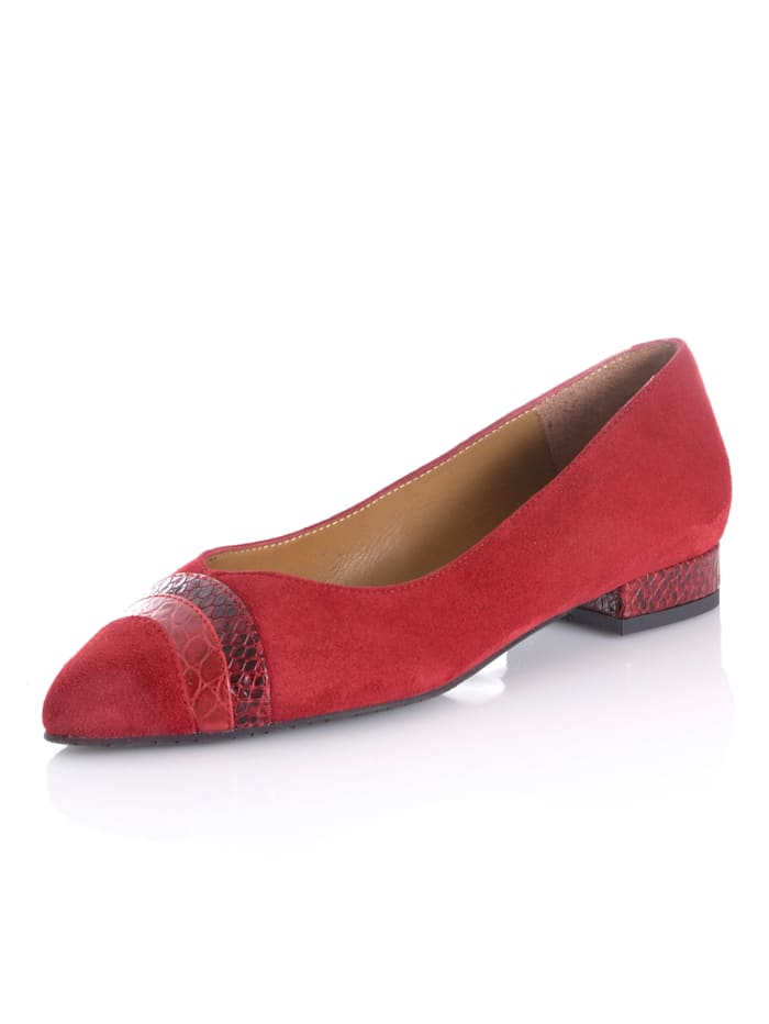 Alba Moda Ballerina mit Krokoeinsätzen, Rot