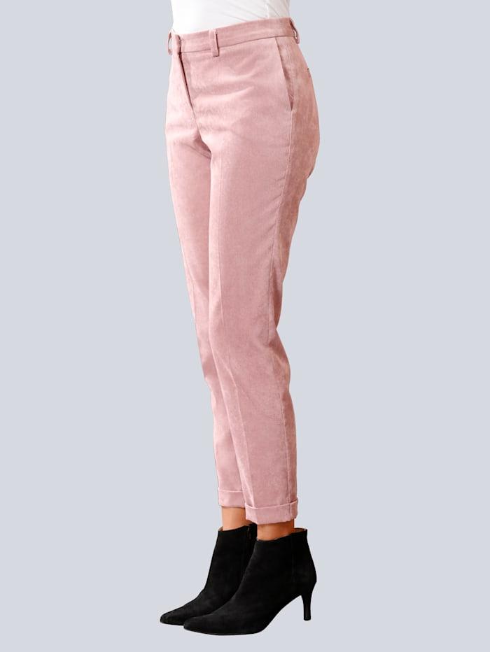 Alba Moda Hose aus trendigem Feincord, Rosé