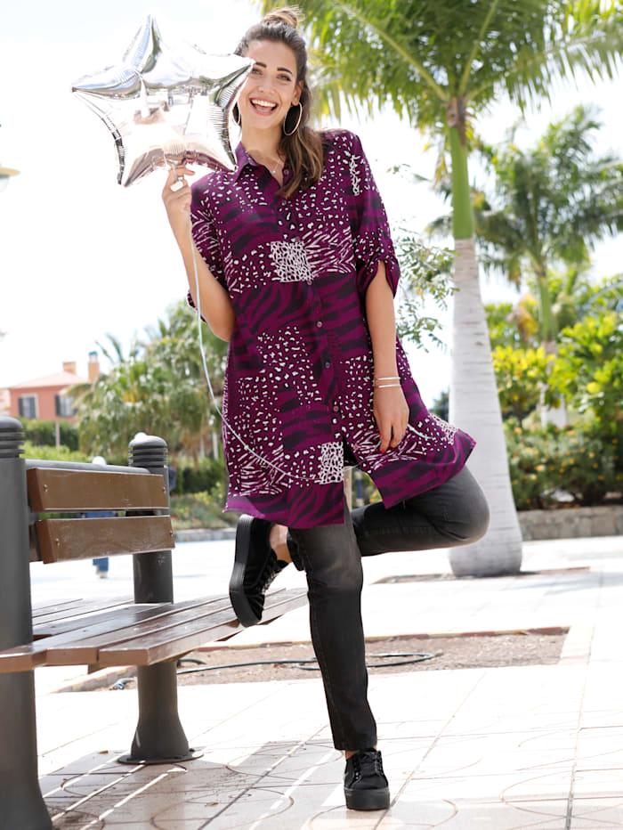 Lange blouse met animalprint