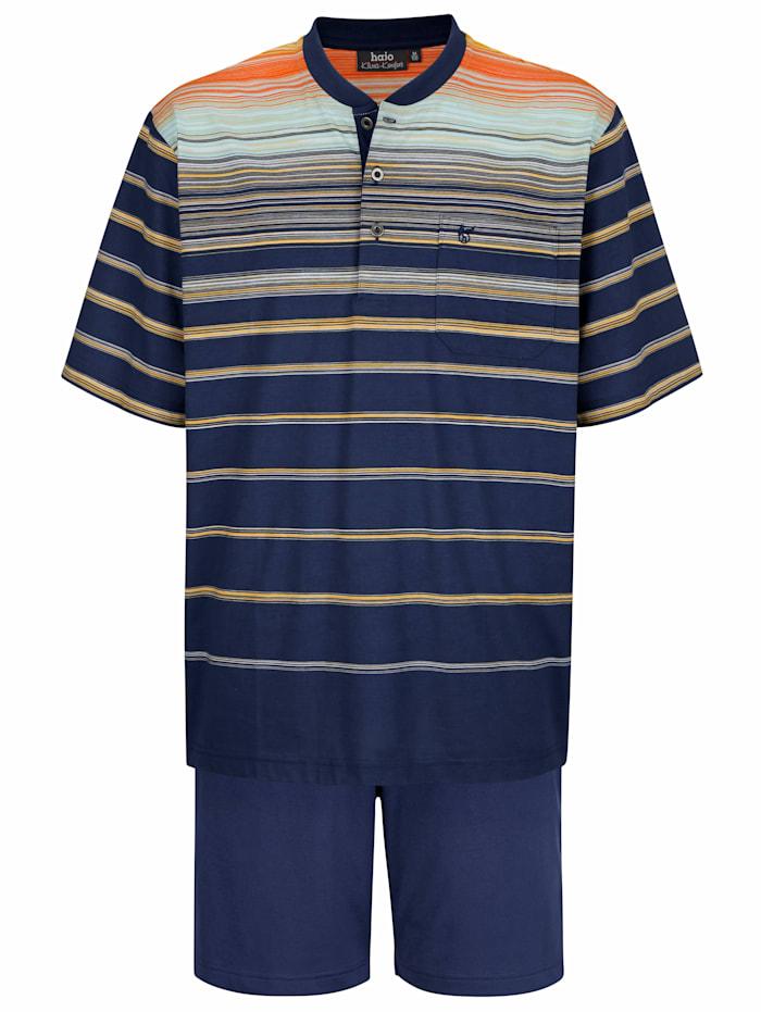 Shorty in Klima-Komfort-Qualität und garngefärbten Streifen, Blau/Orange/Mintgrün