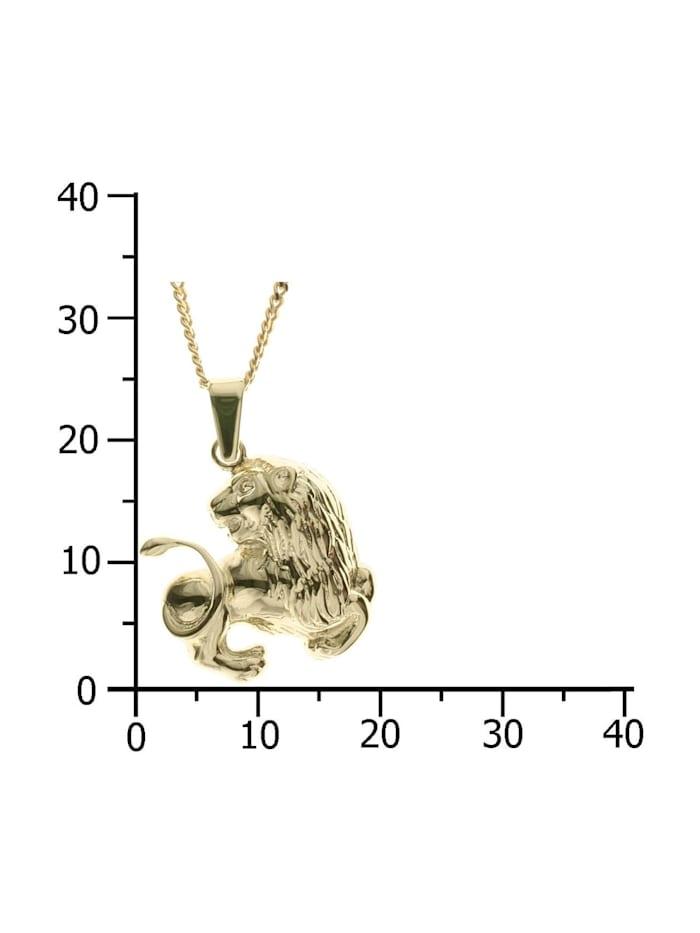 Kette mit Anhänger - Tierkreiszeichen Löwe - Gold 333/000 - ,