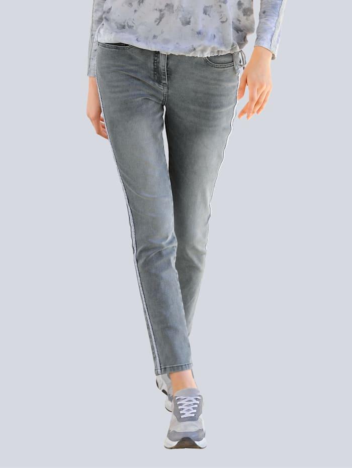 Alba Moda Jeans mit Galon im Streifen-Dessin, Grey