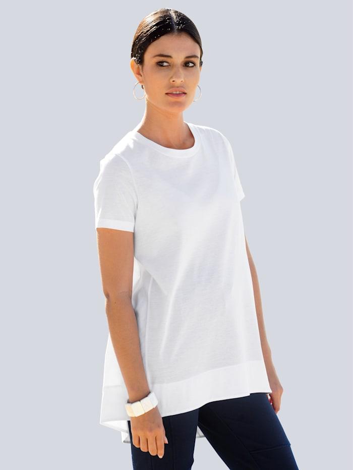 Alba Moda Shirt im Material-Mix mit mercerisierter Baumwolle, Weiß