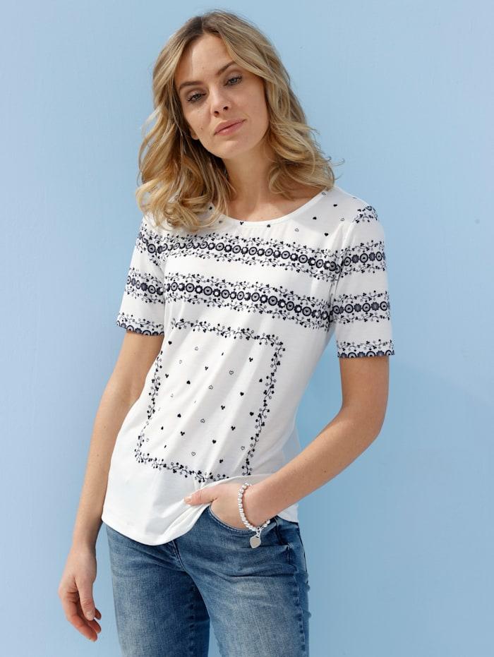 AMY VERMONT Shirt mit grafischem Druck, Off-white/Blau