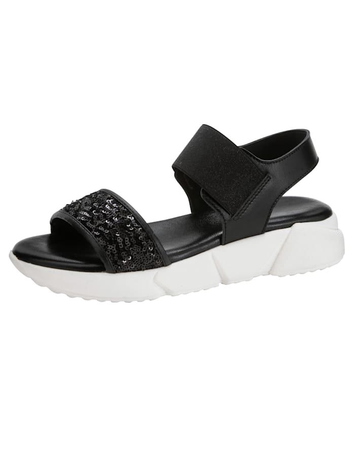 Sandaaltje met paillettenversiering, Zwart