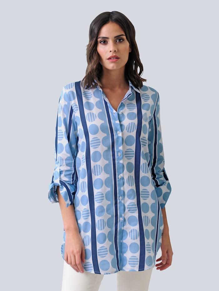 Alba Moda Bluse in schönem Streifen-Punkte-Dessin, Marineblau/Blau/Weiß