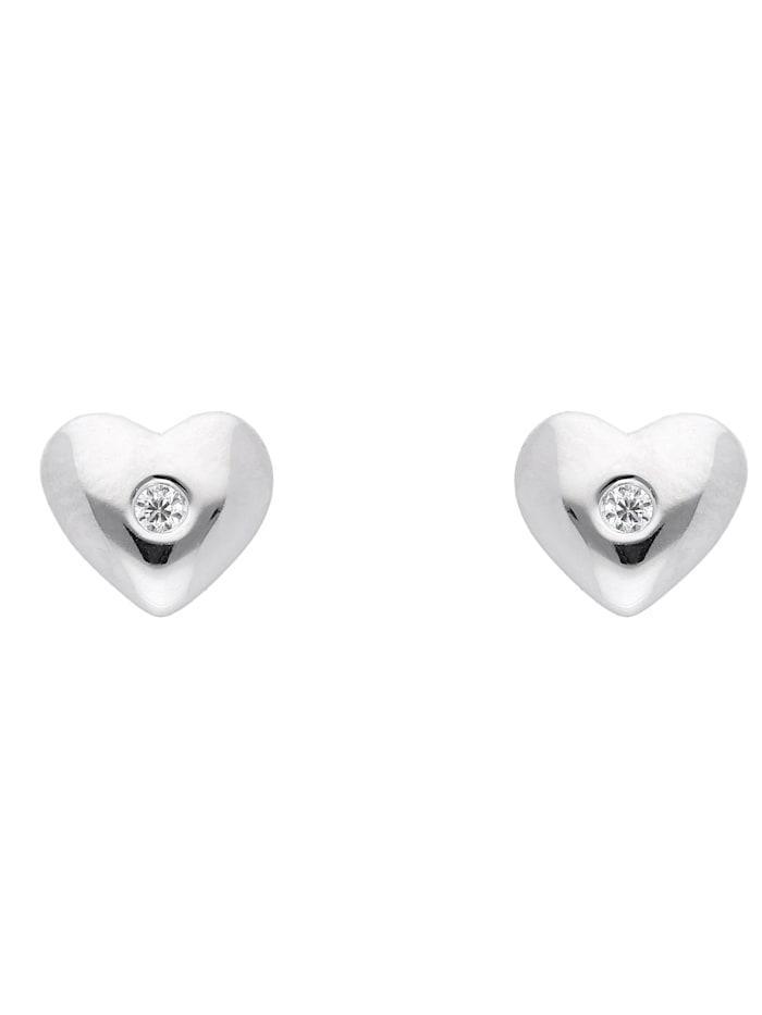 1001 Diamonds 1001 Diamonds Damen Silberschmuck 925 Silber Ohrringe / Ohrstecker Herz mit Zirkonia, silber