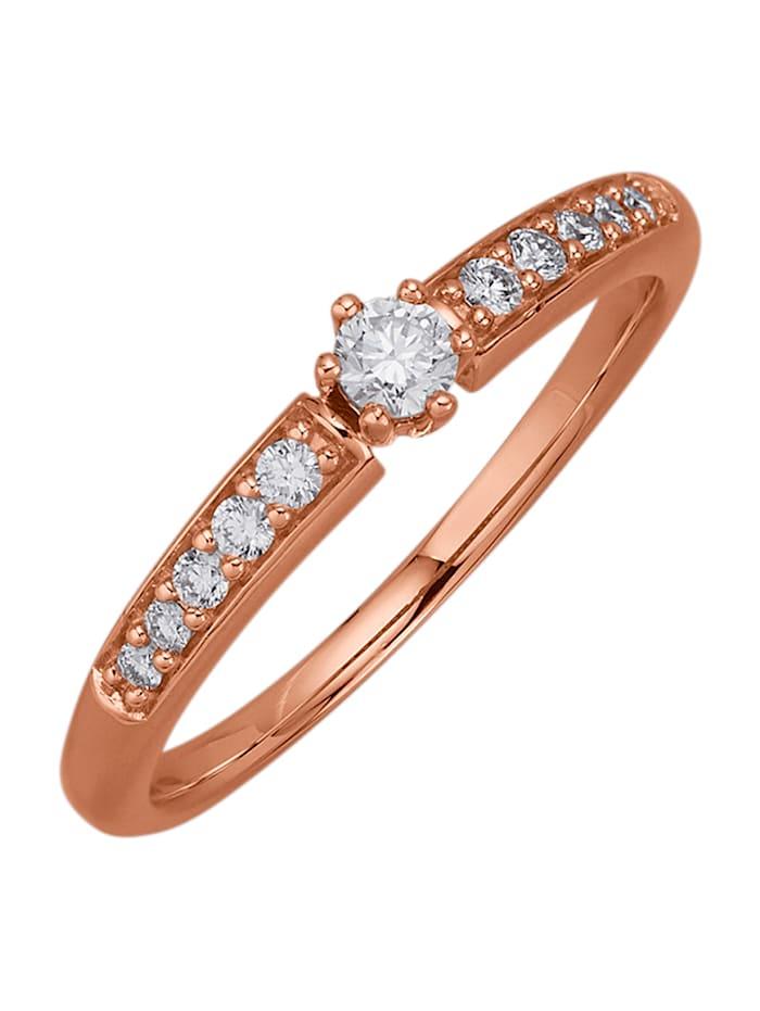 Diemer Diamant Damesring met briljanten, Roodgoudkleur