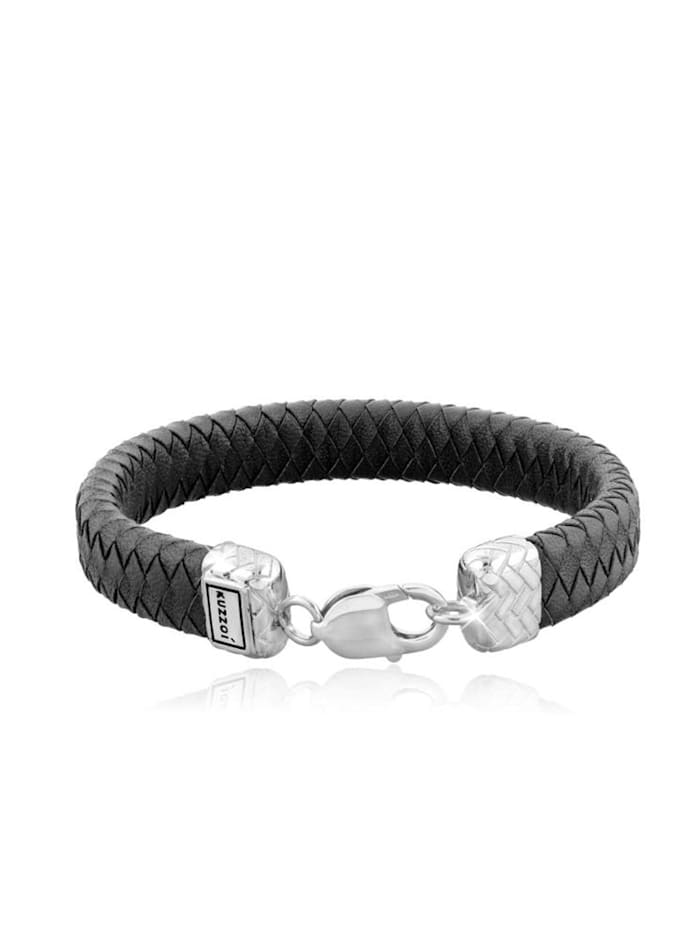 Kuzzoi Armband Herren Lederband Karabiner Geflochten 925Er Silber, Silber